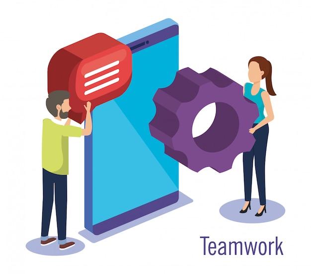 Couple travail d'équipe avec smartphone