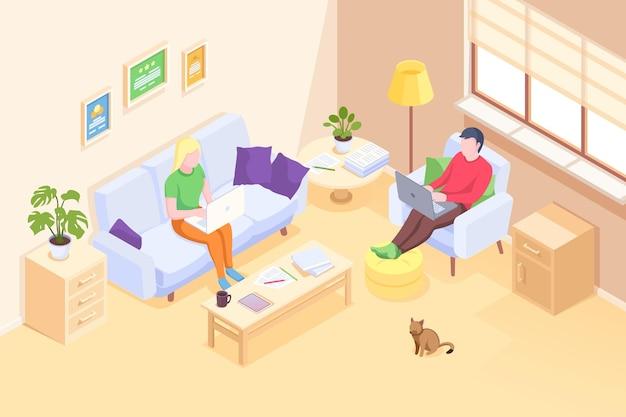 Couple travaillant à domicile en ligne, pigiste homme et femme avec ordinateurs portables