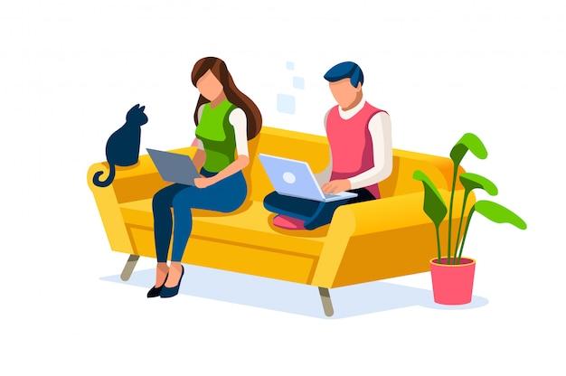 Couple travaille à la maison concept