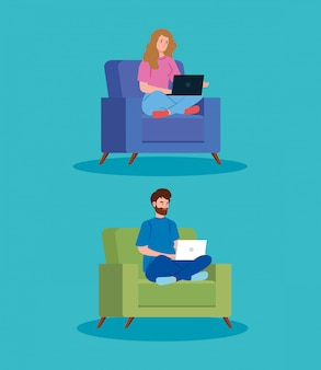 Couple, travailler, télétravail, séance, divan