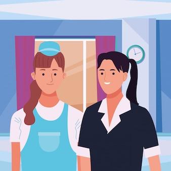 Couple de travailleurs professionnels souriant dessins animés