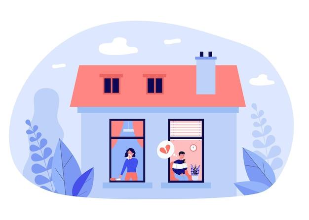 Couple triste pleurant sur une relation brisée. maison, coeur, divorce illustration vectorielle plane