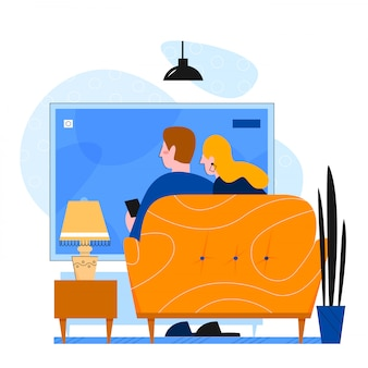 Couple tv famille ensemble illustration vectorielle plane
