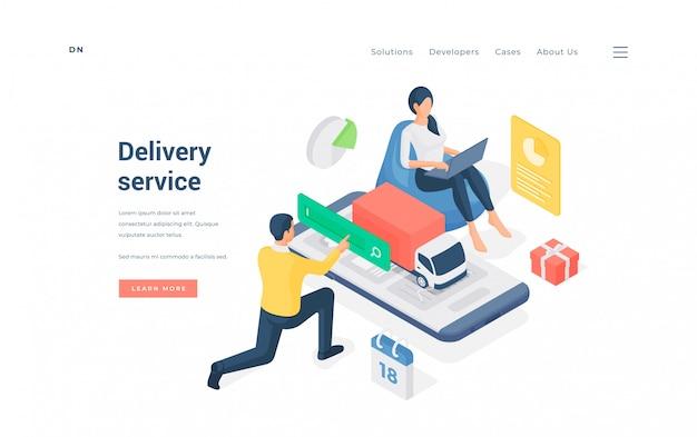 Couple utilisant le service de livraison en ligne. homme et femme isométrique à la recherche d'un service de livraison pratique lors de la commande de cadeaux en ligne sur la bannière publicitaire du site web