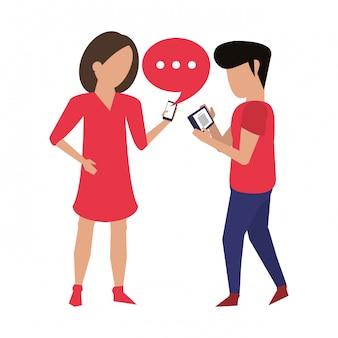 Couple, utilisation, dessin animé, technologie, smartphone