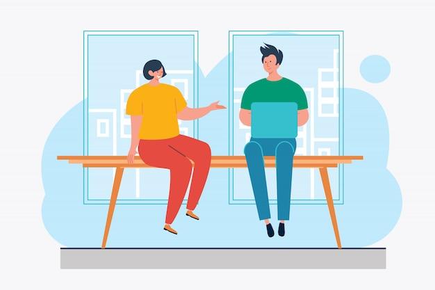 Couple, utilisation, ordinateur portable, conversation