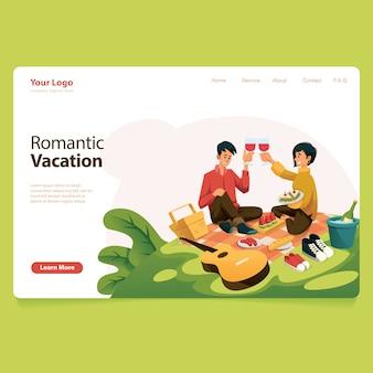 Couple de vacances des hommes et des femmes avec beaucoup de nourriture illustration vector