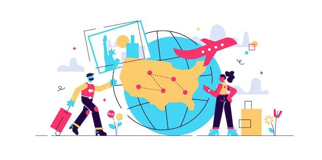 Couple en vacances, voyage autour du monde. visite d'agence de voyages. voyage à l'intérieur du pays, tourisme local, apprenez le concept de votre pays. illustration isolée violet vif brillant