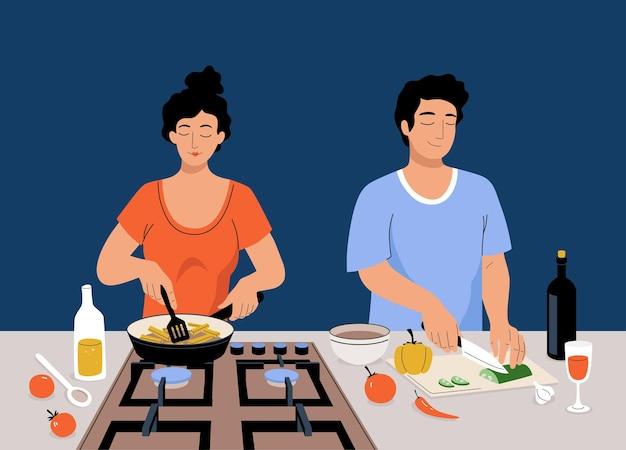 Couple de vecteur cuisine togeater. une femme de bande dessinée fait rôtir des pommes de terre sur la cuisinière, un homme coupe des légumes. les gens préparent des aliments sains dans la cuisine à la maison.