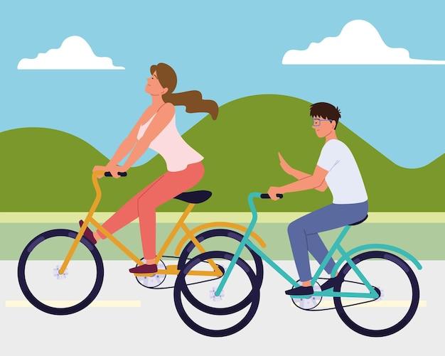 Couple à vélo sur la chaussée