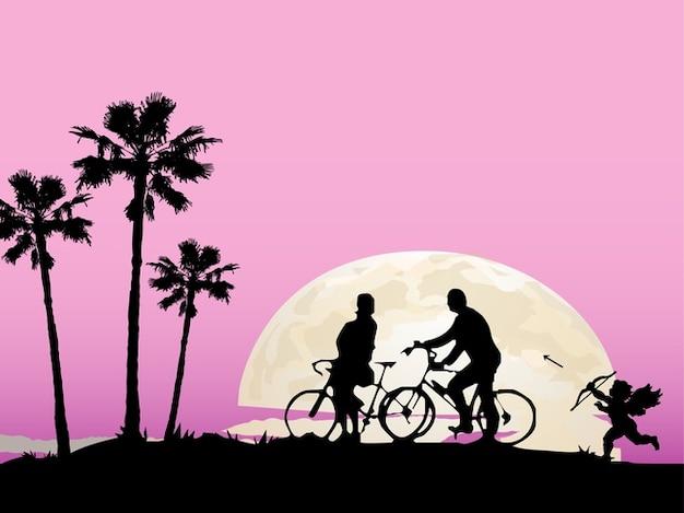 Couple à vélo du paysage romantique