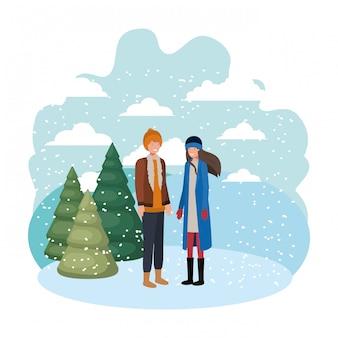 Couple avec vêtements d'hiver et personnage d'avatar de pin d'hiver
