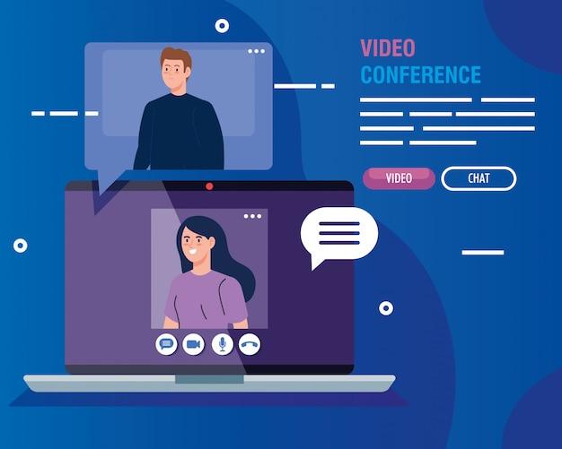 Couple, vidéoconférence, ordinateur portable