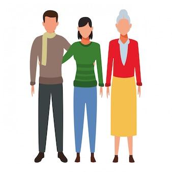 Couple et vieille femme avatar