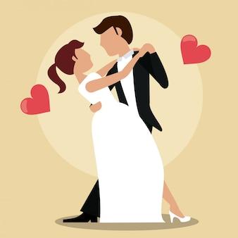 Couple vient de se marier danser