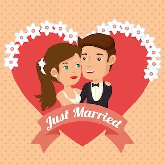 Un couple vient de se marier avec des personnages d'avatars de coeurs