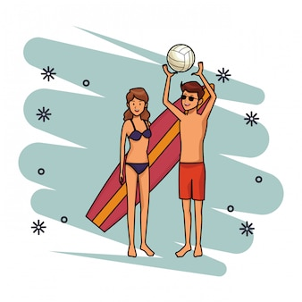Couple voleyball et planche de surf