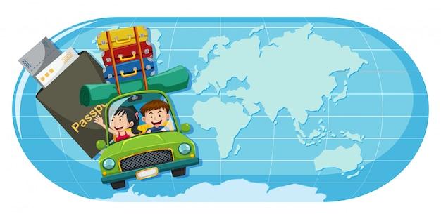 Un couple voyage sur la carte du monde