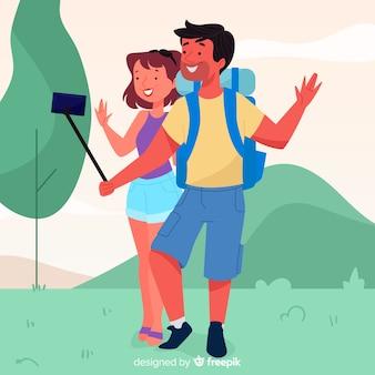 Couple voyageant design dessiné à la main