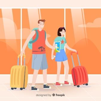 Couple voyageant de fond