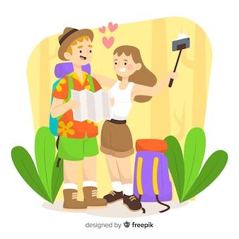 Couple voyageant à la main style dessiné