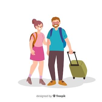 Couple voyageant