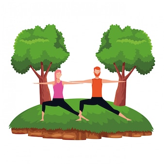 Couple, yoga, pose