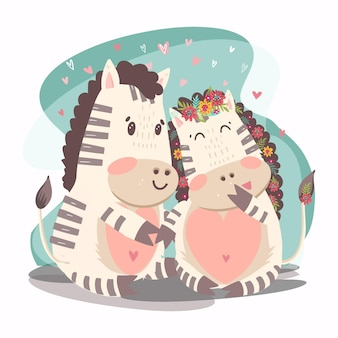 Couple de zèbres de la saint-valentin dessinés à la main