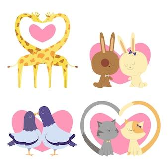 Couples d'animaux mignons qui s'aiment