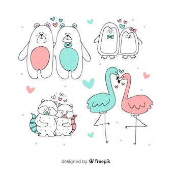 Couples d'animaux saint-valentin