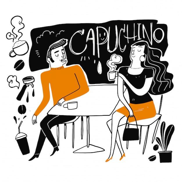 Les couples boivent du café.