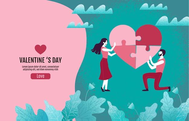 Les couples créent ensemble des puzzles en forme de coeur, saint valentin, amour, illustration vectorielle.