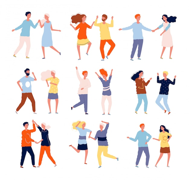 Couples dansants. gens drôles foule masculine et féminine danse tango salsa chacha collection de personnages heureux