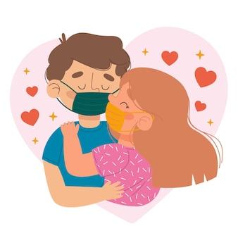 Couples dessinés à la main s'embrassant avec illustration de masque de covid
