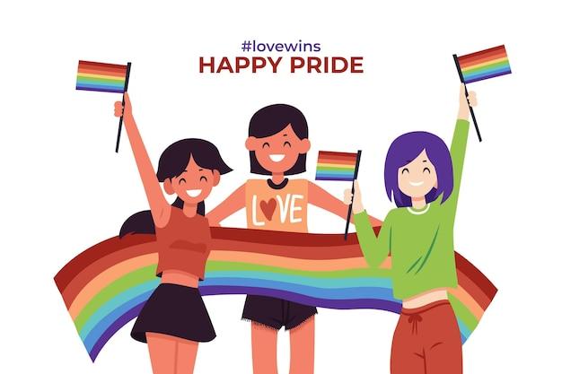 Couples et familles célébrant le jour de la fierté avec des drapeaux