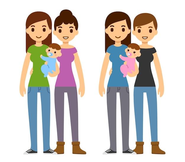 Couples gays de dessin animé mignon tenant bébé garçon et fille. illustration de l'adoption familiale.