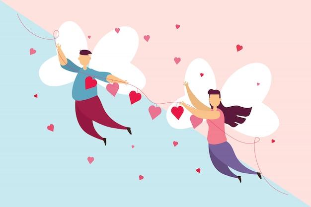 Les couples heureux aiment une aile voler sur le ciel dans la fête de la saint-valentin.