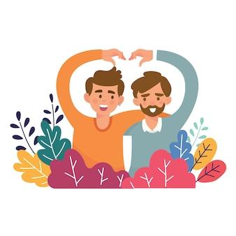 Couples jeunes hommes adultes