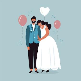 Couples de mariage au design plat
