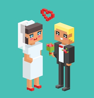 Couples de mariage cartoon illustration vectorielle de style
