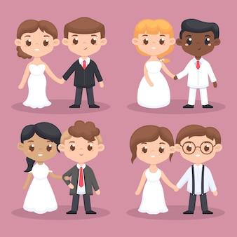 Couples de mariage design plat