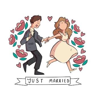Couples de mariage dessinés à la main avec des fleurs