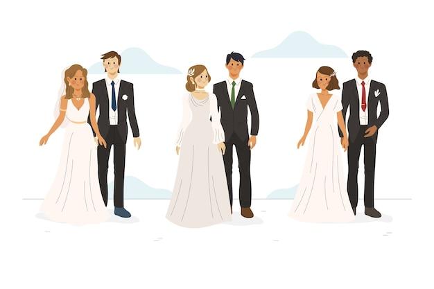 Couples de mariage dessinés à la main