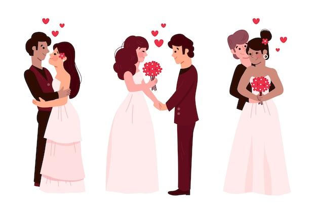 Couples de mariage avec la mariée et le marié