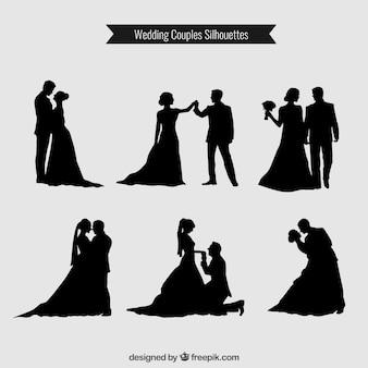 Couples de mariage silhouettes collection