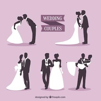Couples de mariage silhouettes paquet