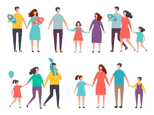 Couples masculins et féminins. enfants et couples de famille isoler sur blanc
