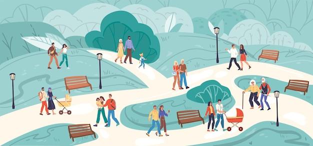 Couples de personnages de famille heureuse de dessin animé plat marchant en plein air dans le parc à l'heure d'été