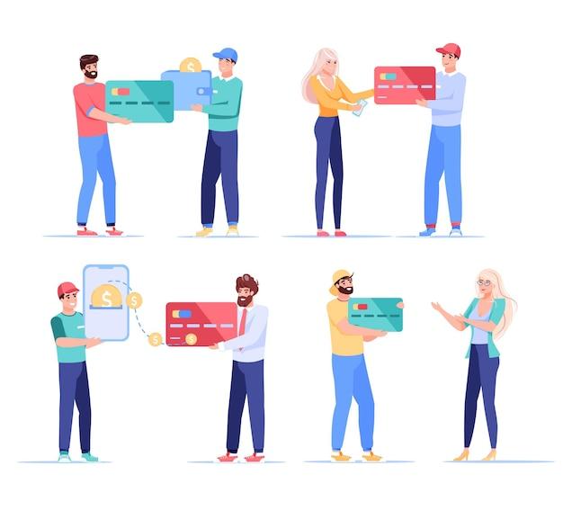 Les couples de personnages interagissent avec les cartes de crédit