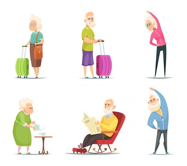 Couples de personnes âgées dans diverses poses d'action
